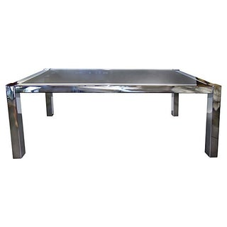 Chrome and Gray Smoked Glass Dining Table
