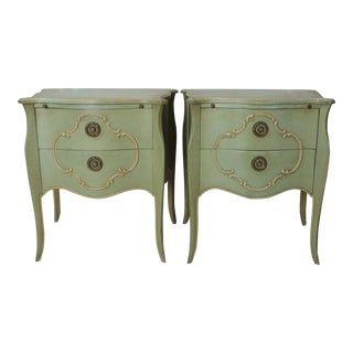 Vintage Painted French Louis XVI Nightstands - A Pair
