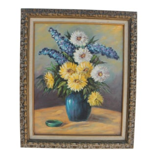 Vintage Still Life With Flowers Painting