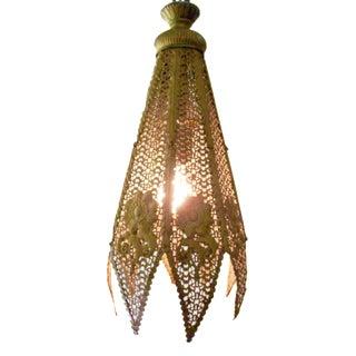 Moroccan Pierced Brass Swag Pendant Lamp