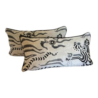 Clarence House Pillow With Tibet Dragon Design - A Pair