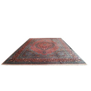 Traditional Kashmir Hand Made Knotted Rug - 12′ × 18′6″