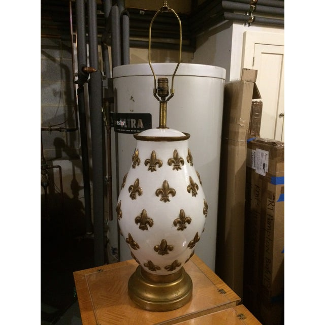 White And Gold Fleur De Lis Lamp