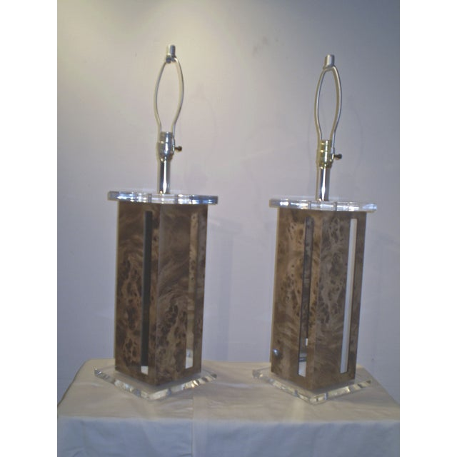 Karl Springer Lucite Lamps - A Pair - Image 3 of 3