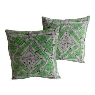 Vintage Schumacher Bamboo Pillows - A Pair
