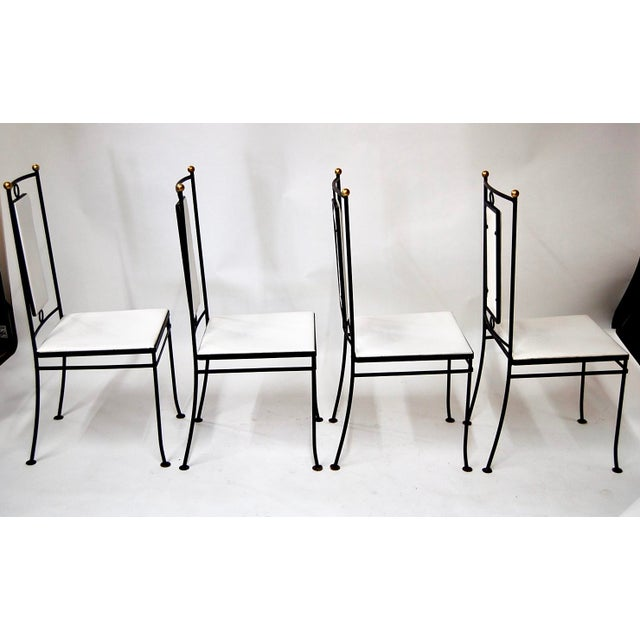 Mid-Century Hollywood Regency Iron & Brass Dining Chairs -Set of 4 - Image 9 of 11