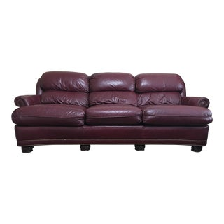 Hancock & Moore Retro Burgundy Leather Sofa
