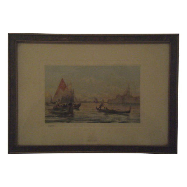 1920s Framed Colored Venice Print - Image 1 of 8