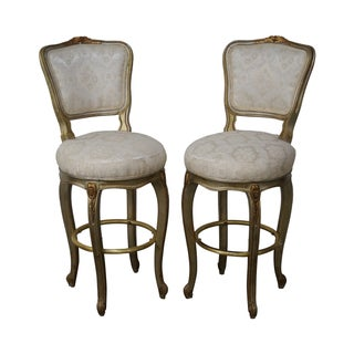 Gilt Frame Louis XV Counter Bar Stools - Pair