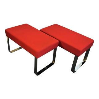 Milo Baughman Style Modern Chrome Benches - A Pair
