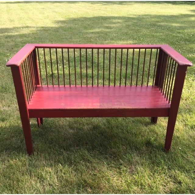 Spindle-Back Red Bench - Image 2 of 11