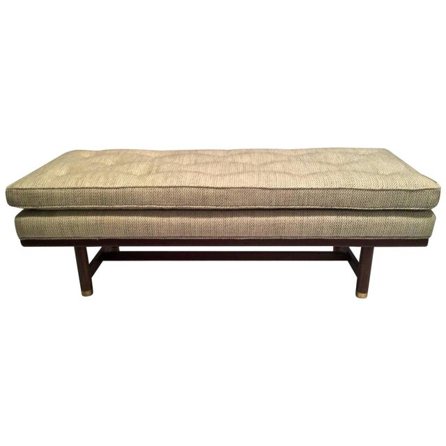 Mid-Century Modern Tufted Walnut Bench - Image 1 of 10