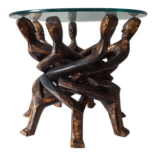 African Tribal Folding Glass Top Table