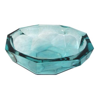 Kunstglas Burger Style Aqua Faceted Glass Bowl