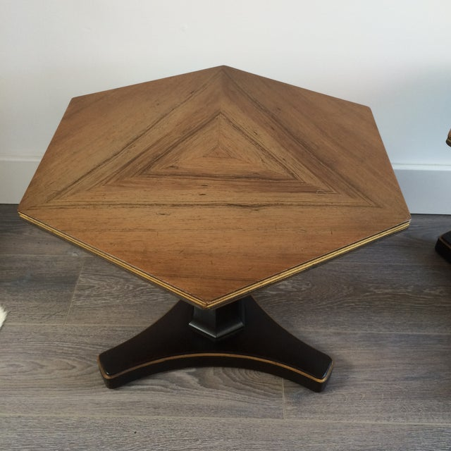 Henredon Hexagonal Walut Side Tables - A Pair - Image 3 of 11