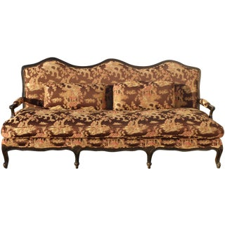 Chinoiserie Style Silk Goose Down Upholstered Settee Sofa
