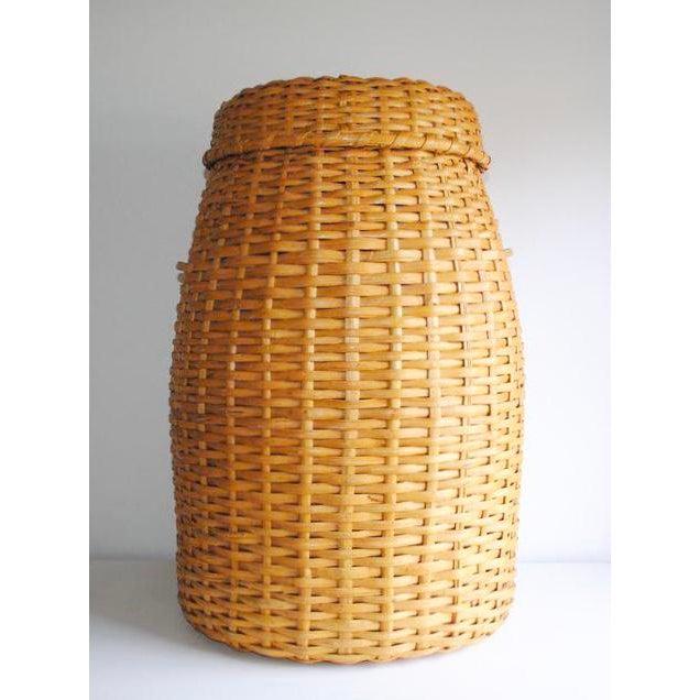Vintage Rattan Standing Basket - Image 3 of 5