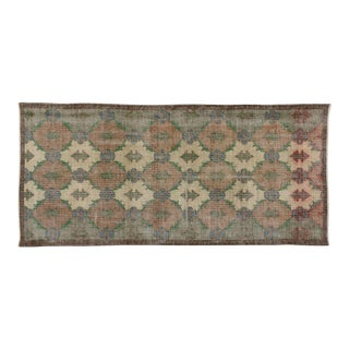 "Vintage Turkish Zeki Muren Distressed Sivas Area Rug - 2'11"" X 6'3"""
