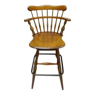 Ethan Allen Heirloom Nutmeg Maple Birch Wood Swivel Bar Stool Chair 10-6095 A