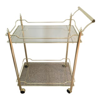 Gold and Glass Rolling Bar Cart