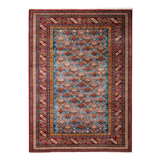 """New Traditional Hand Knotted Area Rug - 4'4"""" x 5'10"""" - Image 1 of 3"""
