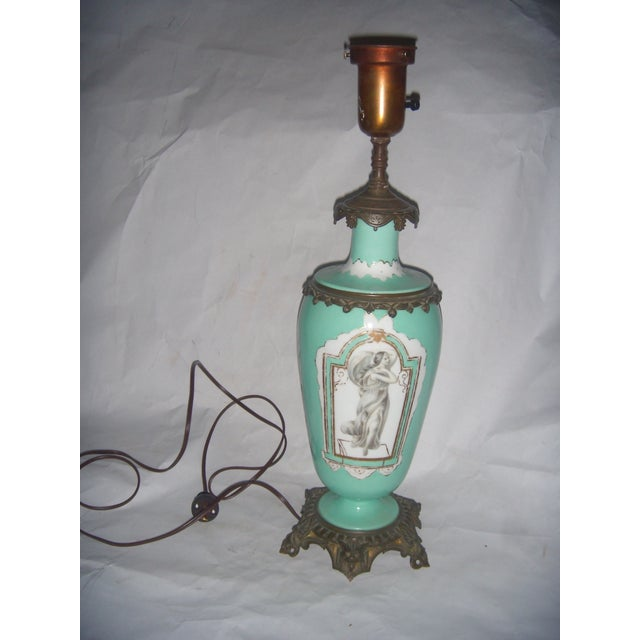 Neoclassical Teal Porcelain & Brass Lamp - Image 2 of 11