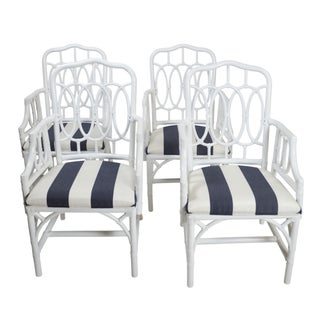 Vintage White Lacquer Rattan Armchairs - Set of 4