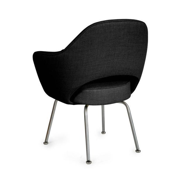 Saarinen Executive Armchairs in Black Woven-Microfiber, Set of Six - Image 4 of 5