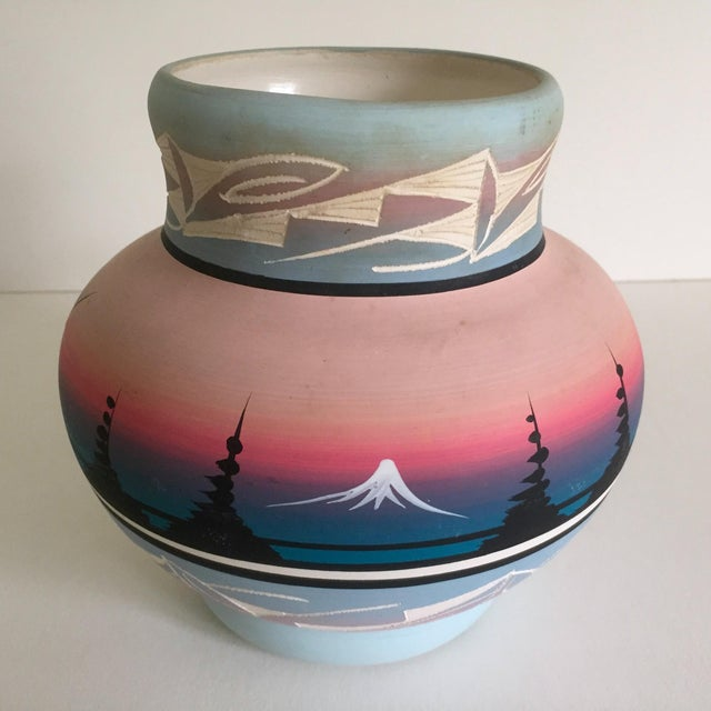 Vintage Signed Navajo Native American Pink Mesa Sunset Hand Painted Pottery Vase - Image 6 of 11