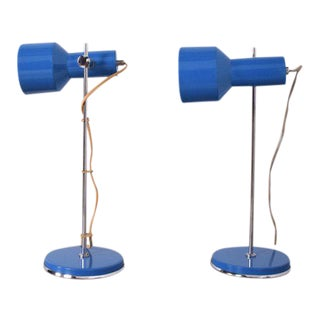 Pair of Mid-Century Modern Blue & Chrome Table Lamps After Lightolier