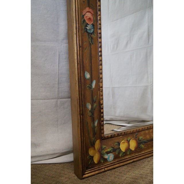 Image of Floral Hand Painted Gilt Frame Beveled Wall Mirror