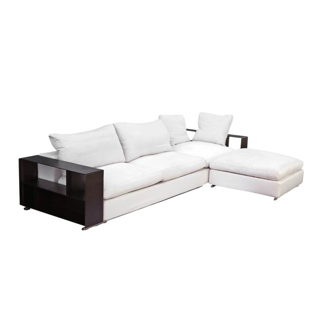 "Flexform ""Groundpiece"" Modular Sofa with Leather Armrest/Shelves, Made in Italy - Image 1 of 10"