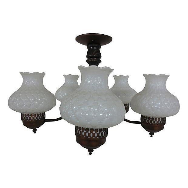 Chandelier With Milk Glass Shades - Image 1 of 4