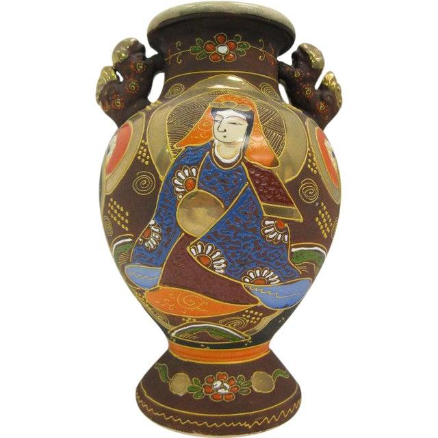 Image of Signed Satsuma Hand Painted Vase