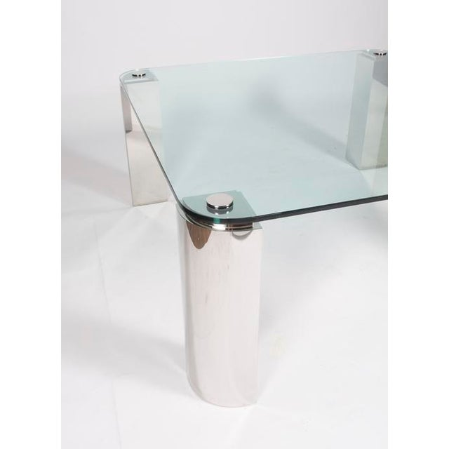 Image of POLISHED STEEL AND GLASS DINING TABLE