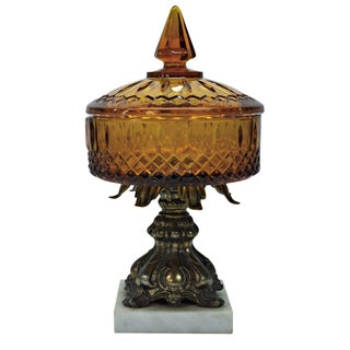 Lidded Amber Glass Compote on Marble Base