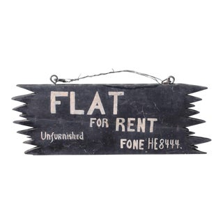 """Handmade """"FLAT FOR RENT"""" New England Wood Sign"""