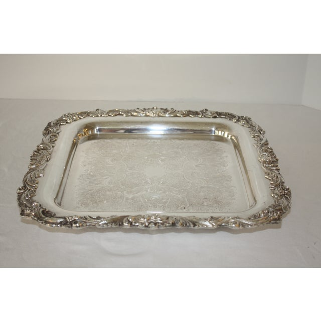 Image of Footed Square Silver Tray