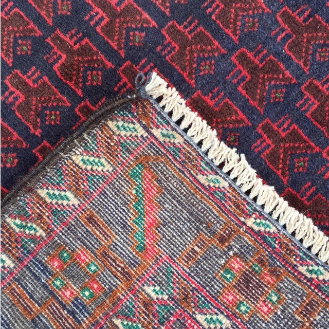 "Red Baluchi Persian Rug - 2'10"" x 4'4"" - Image 8 of 8"