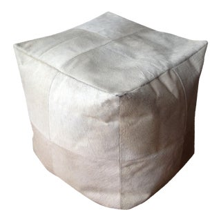 Ivory Cowhide Leather Pouf