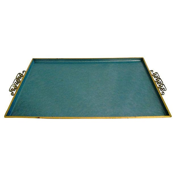 Image of Aqua Blue Kyes Moiré & Brass Tray