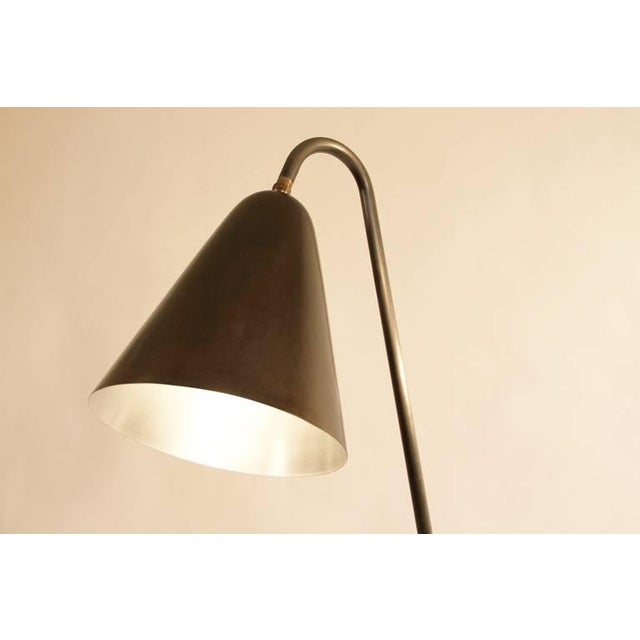 Image of Blackened Steel Cone Shade Floor Lamp