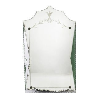 Etched & Hand-Painted Glass Boudoir Mirror