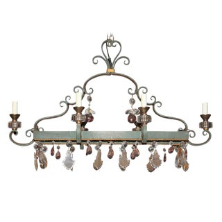 French Painted Iron & Crystal Chandelier