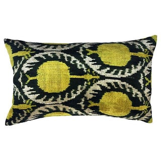 Pomegranate Ikat Velvet Pillow
