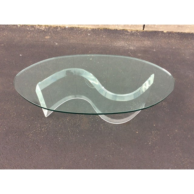 1970s Modern Serpentine Lucite Coffee Table - Image 2 of 8