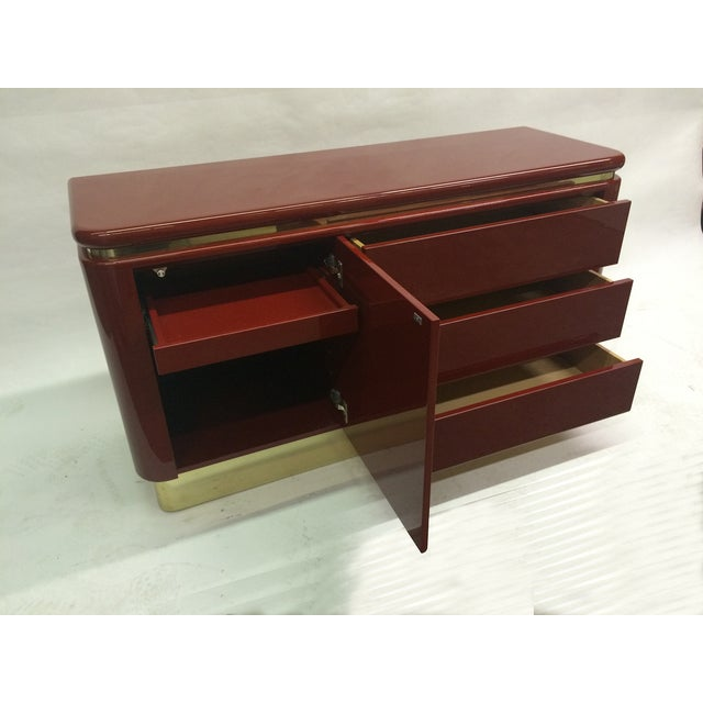 Red Lacquer Hollywood Regency Dressers - A Pair - Image 4 of 6