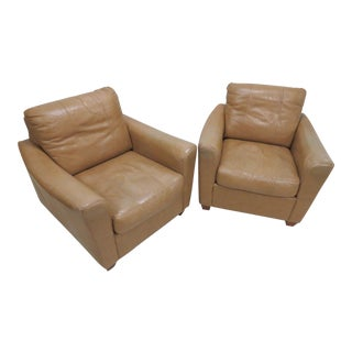 Leather Club Chairs - A Pair