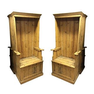 Antique Pine Porters Chairs - a Pair