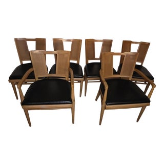 Vintage Danish Modern Style Cane Back Dining Chairs by American Furniture Co. - Set of 6